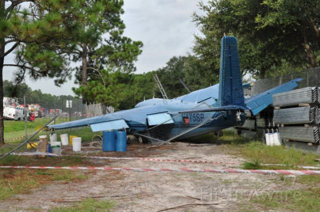 Aero Commander 500 (N175SP) - A sizeable chunk was taken out of the Starboard wing by a pine tree