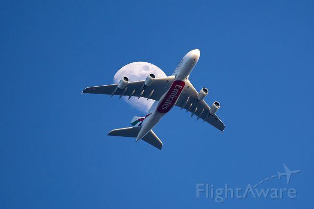 Airbus A380-800 (A6-EUK) - Intermediate approach LSZH 9000 ft above my garden