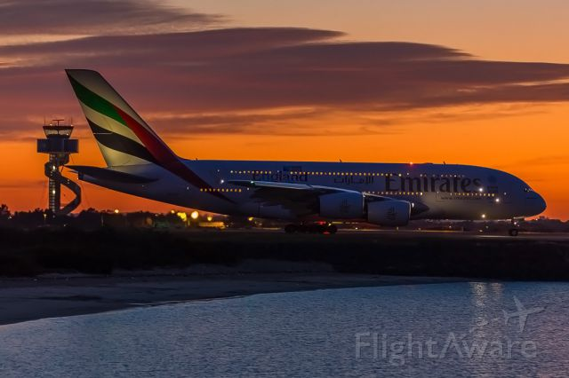 Airbus A380-800 (A6-EDD) - EK415 taxiing along alpha for 34L departure to Dubai at sunrise - first departure for the day.