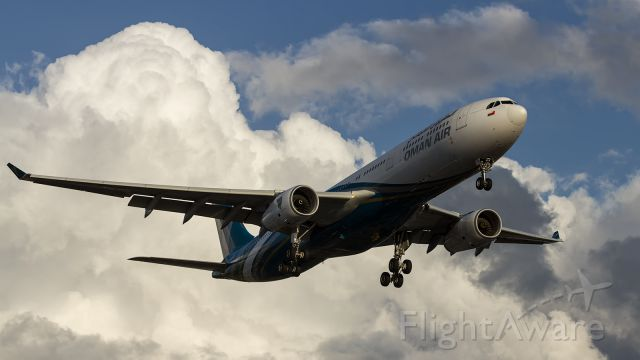 Airbus A330-300 — - OMAN Air, A333, approaching runway 027R at LHR.
