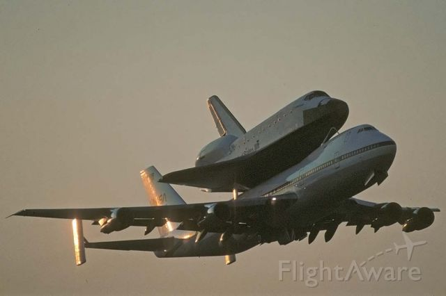Boeing 747-200 (N911NA) - The Space Shuttle Endeavour was delivered to NASA on May 2, 1991. Shuttle Carrier Aircraft N911NA took off from Air Force Plant 42 in Palmdale, California with Endeavour mounted on its back just after sunrise.