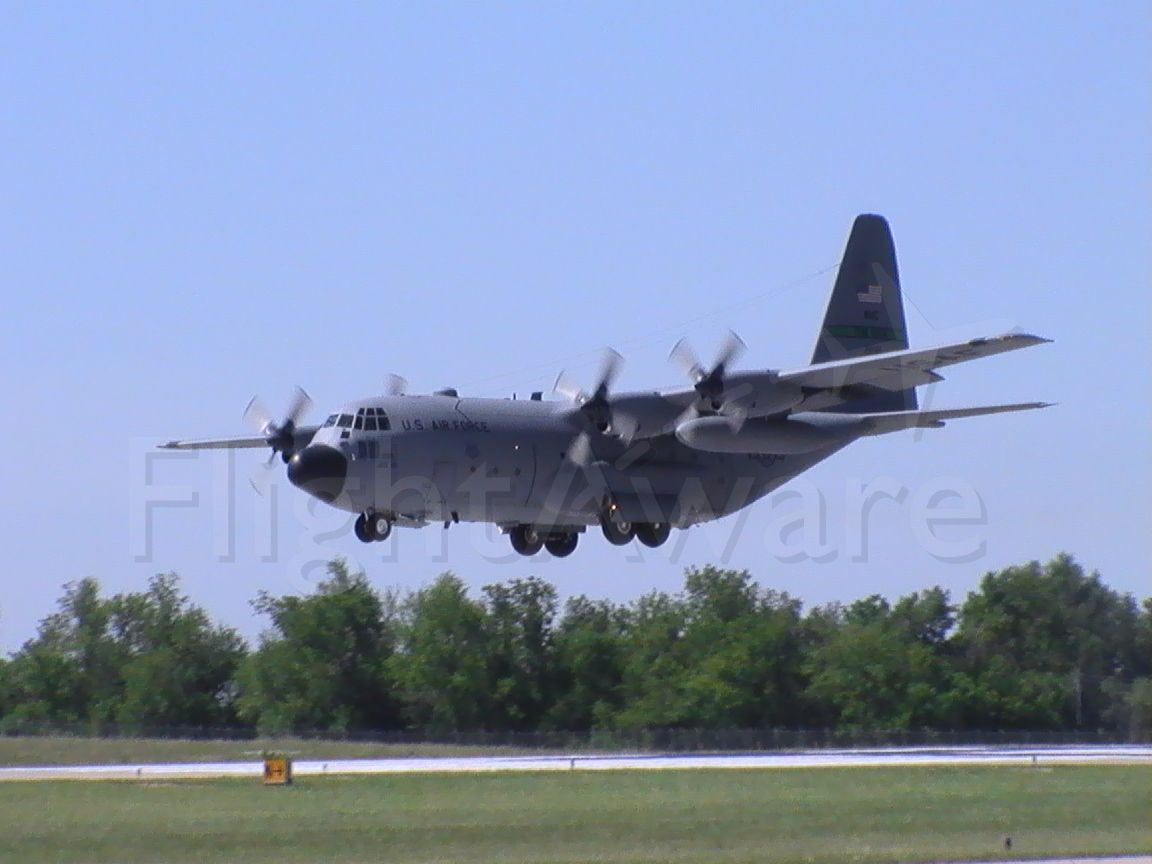 Lockheed C-130 Hercules — - Air Force C-130 flying the pattern, touch