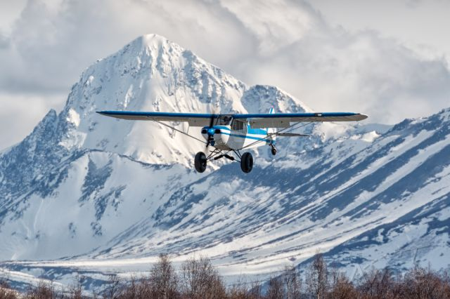 Piper L-21 Super Cub — - Approaching Lake Hood landing strip