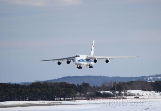 Antonov An-124 Ruslan (RA-82044) - VDA 2766 is over the numbers at Bangor International Airport on a flight from Keflavik.