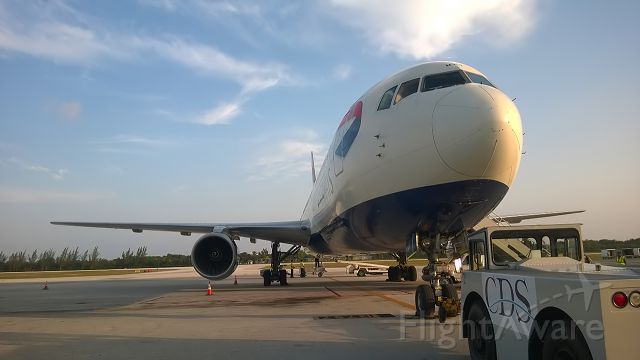 BOEING 767-300 (G-BNWY) - 28-8-2015. British Airways Boeing 767-300 G-BNWY in the evening sunshine at GCM loading the last few passengers for her trip back to London via Nassau.The BA 767 fleet is getting very tired indeed, all are fitted with Rolls Royce engines which make them rather unique. <br>No doubt these 767s  will be on their way to Victorville / Parted out soon so uploaded this to FA for a database/history shot of both aircraft and airport.