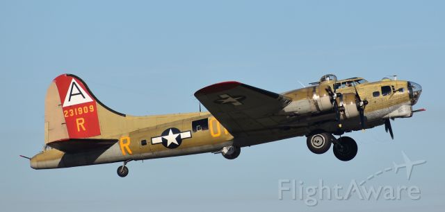 """Boeing B-17 Flying Fortress (N93012) - God bless the Nine-O-Nine, her crew, and her pax. It was an honor to have her be the first B-17 I ever """"met"""" decades ago, and the only B-17 I've ever flown. Holding those who were lost in the light. Climbing out of RDU in October of 2017, off to her next stop.  Eternal blue skies to all."""
