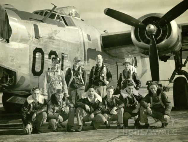 Consolidated B-24 Liberator — - Posted with the okay from Nate P. and his uncle.<br /><br />Picture taken Mitchell Airfield NY<br /><br />Back Row: Pilot Will Graham † Copilot Al Kramer, Navigator M Gwinna * , Bombardier Benny Benicoff, Front Row: Ball Turret Mal Jennings*, Tail Turret Joe Powliski, Engineer Jim Jacks† , John Scott*, Top turret Nathaniel Crowley, Radio Bob Crow *German POW all returned after WWII<br /><br />† Killed in action over Budapest<br /><br />* German POW all returned after WWII