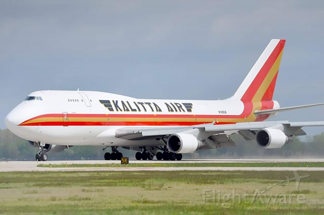 Boeing 747-400 (N745CK) - A rare visitor to Willow Run. Kalitta 9745 slowing down on runway 23L. This was a ferry flight from Leipzig, Germany to clear customs. Later headed up to Oscoda for maintenance.