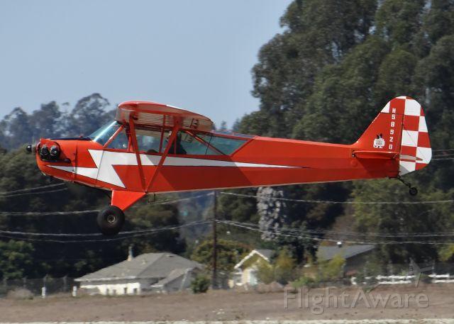 Piper Cub (J-2) (N58920) - 1958 Piper cub on final approach