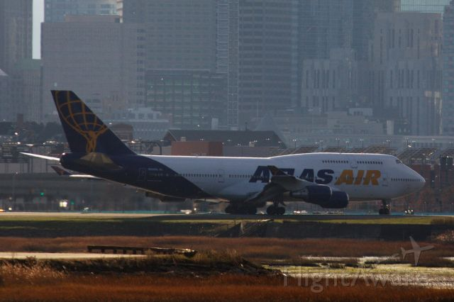 Boeing 747-400 (N322SG) - Atlas Air B747-400 arriving to Boston Logan from Baltimore BWI with the Ravens football team on 11/14/20 to play the Patriots the following day.