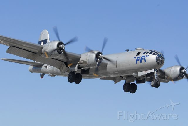 Boeing B-29 Superfortress (N529B) - Fifi on approach to land on Runway 7 Left