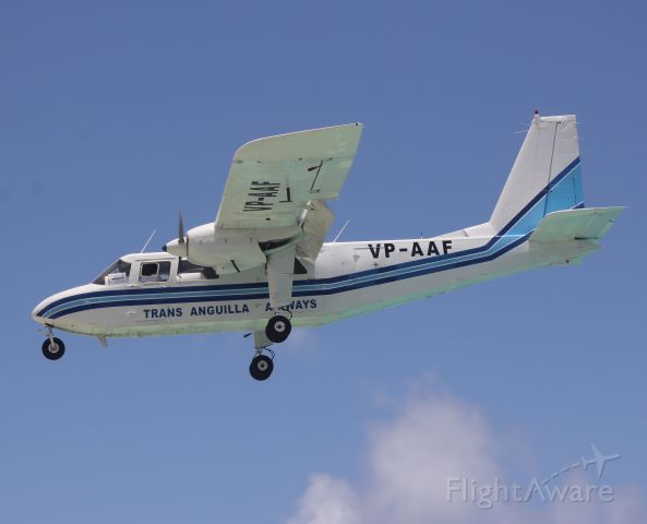 VP-AAF — - One perfect shot of a briten norman islander landing in Sint maarten