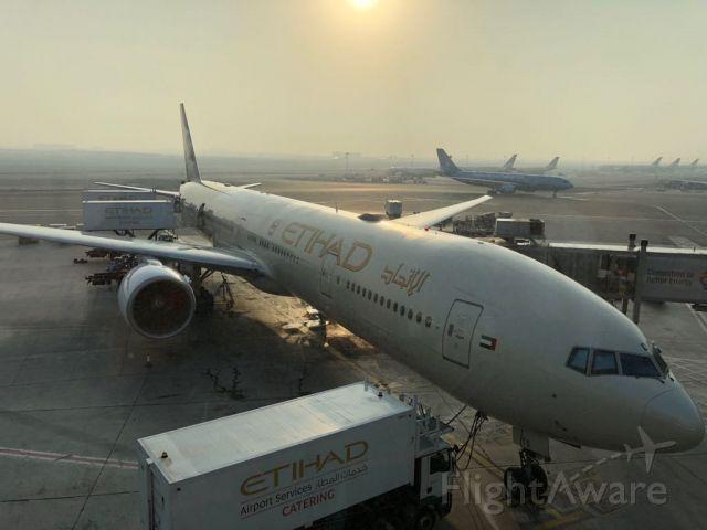 Boeing 777-200 — - Morning sunrise at abu dabhi international.