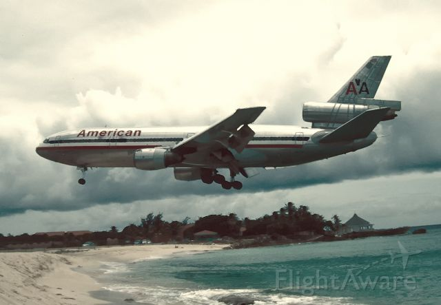 McDonnell Douglas DC-10 (N147AA) - Over the beach in early morning.