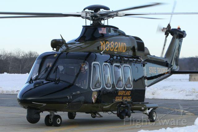 BELL-AGUSTA AB-139 (N382MD) - February 4, 2021 - taxied toward hangar in Frederick