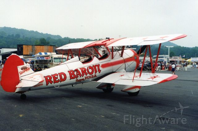 Boeing PT-17 Kaydet (N806RB) - SUSSEX AIRPORT-SUSSEX, NEW JERSEY, USA-AUGUST 1994: Seen on static display at the annual Sussex Airshow is this Stearman, part of the Red Baron Pizza aerobatic team.