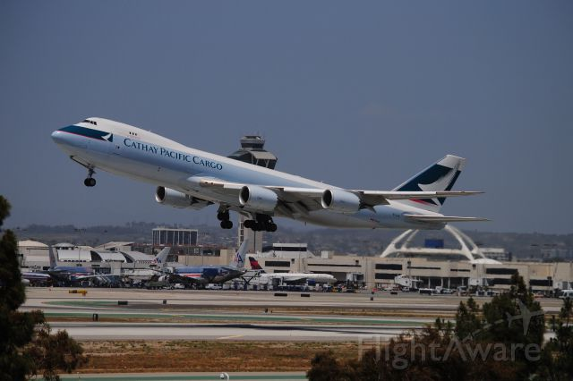 BOEING 747-8 (B-LJB) - This is NICE!  The new Cathay Cargo 747-8F leaves KLAX for another trip!