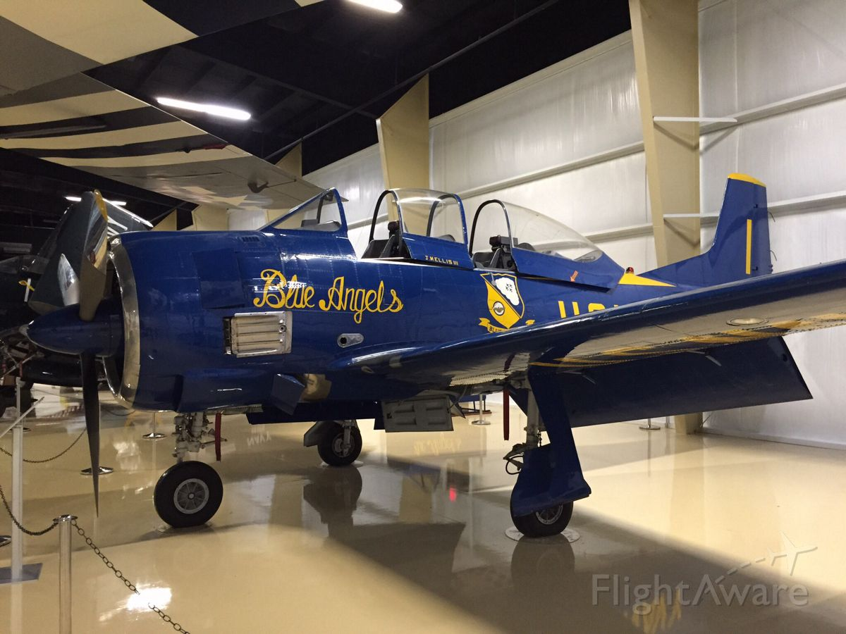 — — - Blue Angels North American T-28 Trojan at the Air Zoo museum in Kalamazoo.