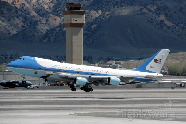 82-8000 — - Air Force One completes its rotation and begins to climb away from RTIA