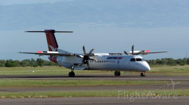 de Havilland Dash 8-400 (VH-QOA) - A Qantaslink Dash 8 on rollout at Cloncurry Aerodrome after touchdown.