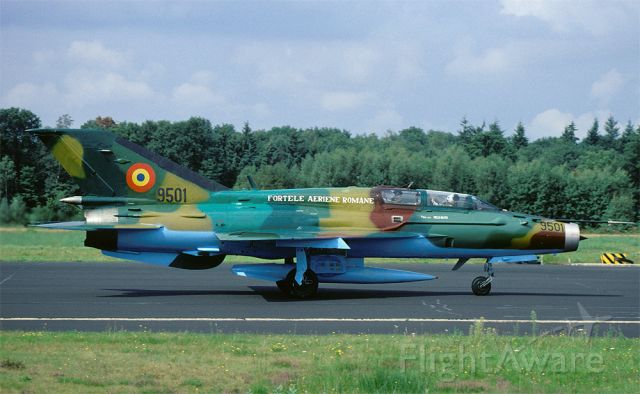 N9501 — - Romania AF MiG-21UM Fishbed on the runway at Twenthe AB, The Netherlands during a squadron exchange