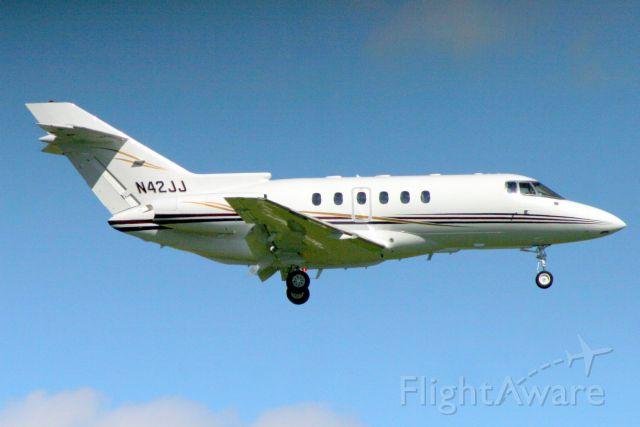 Raytheon Hawker 800 (N42JJ) - On final approach for rwy 10L on 1-Nov-17.