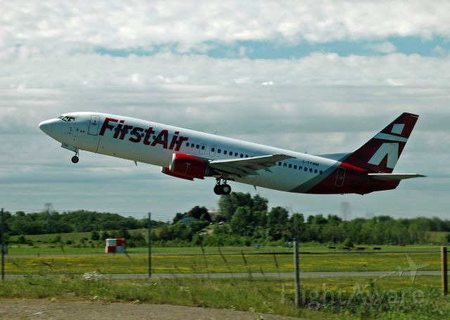 BOEING 737-400 (C-FFNM) - First Airs Boeing 737-436 (c/n 25839) taking off. Flight FAB6312 outbound for CYYG (June 21, 2018)
