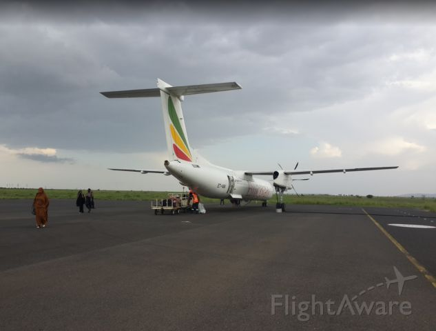 de Havilland Dash 8-400 (ET-ANV) - After arriving in the city of Jijiga from Gondar. ET