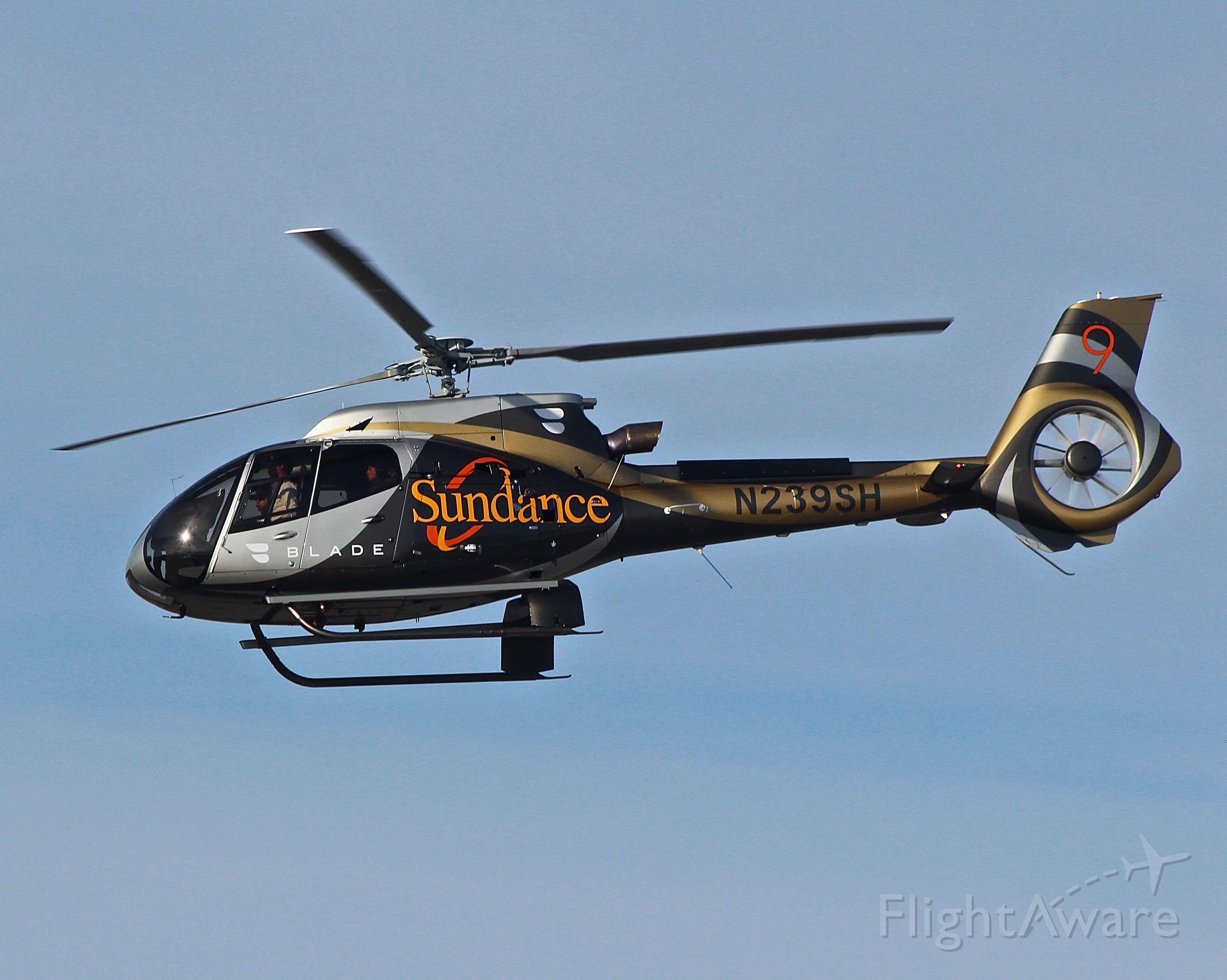 Experimental >200kts (N239SH) - Sundance Helicopters N239SH Eurocopter EC-130 departs Salt Lake City International Airport, Utah en-route to Park City, Utah on the first Fly Blade flight to the Sundance Film Festival.