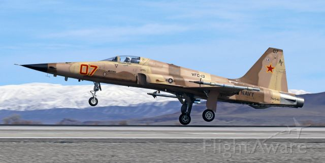 """Northrop RF-5 Tigereye (76-1545) - Returning to land on 31L after performing an adversarial role in a combat training sortie.<br /><br />United States Navy Northrop F-5N Tiger II (761545)<br />VFC-13 (Fighter Squadron Composite Thirteen) """"Fighting Saints""""<br />Home Station: NAS Fallon, NV"""
