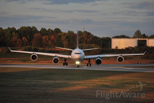 Airbus A340-600 (D-AIHT) - Cleared for takeoff 18C at KCLT - 10/24/10