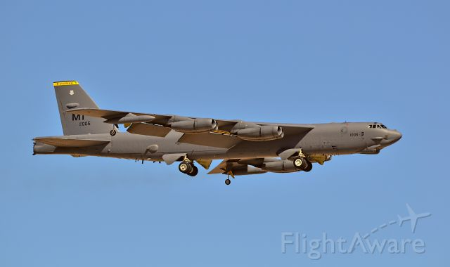 Boeing B-52 Stratofortress (61-0005) - Boeing B-52H Stratofortress 61-0005 69th Bomb Squadron Knighthawks Minot Air Force Base Ward County, North Dakota - Red Flag 15-3 July 13 to 31<br />Las Vegas - Nellis AFB (LSV / KLSV)<br />TDelCoro<br />July 15, 2015
