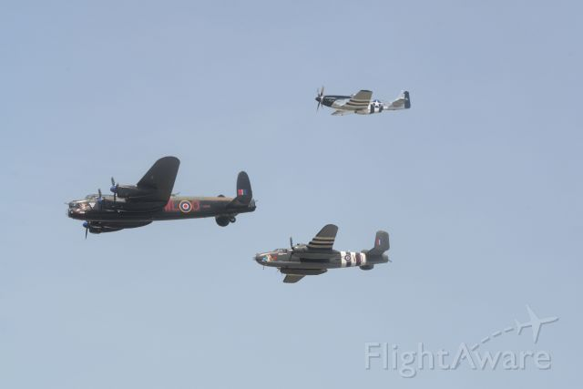 — — - RCAF AVRO Lancaster with B-25 Mitchell and P-51 Mustangbr /Quinte International Air Show.