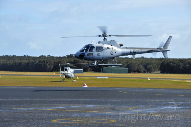 Eurocopter AS-350 AStar (N22022) - Navy squirrel N22-022 in company with 019, 020 and 024 arriving Flinders Island, Sept 2017 on their farewell trip to Tasmania before retirement