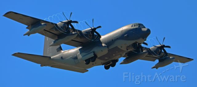 Lockheed C-130 Hercules — - HC-130 Of the 920th Rescue Wing flying over Patric AFB - Melbourne Fl - doing a low flyby notice the compressed moisture in the air from the props .
