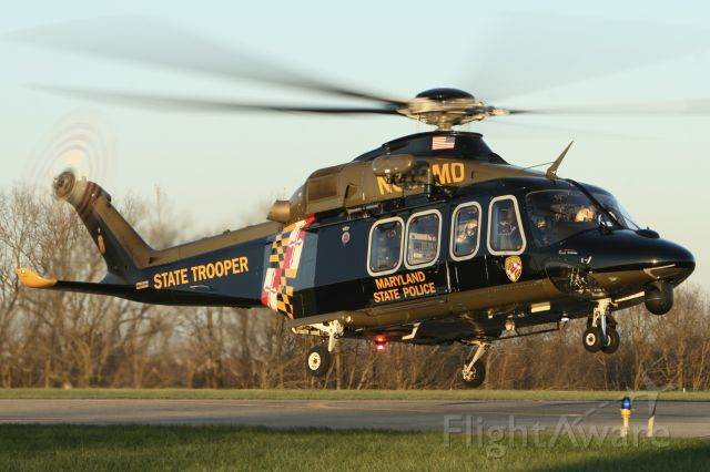 BELL-AGUSTA AB-139 (N382MD) - Trooper 3 - sunset arrival 11/20/2020