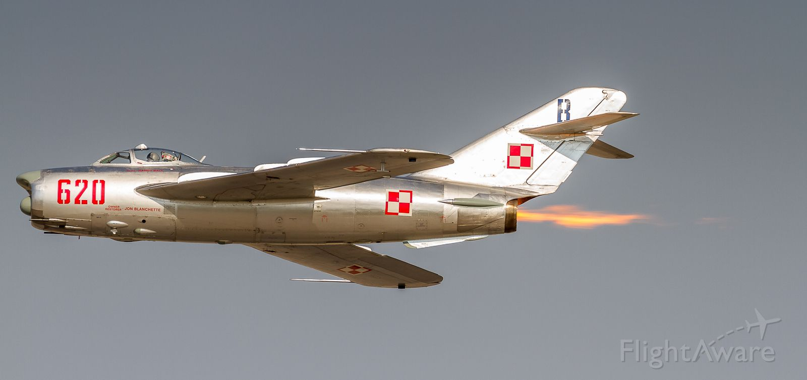 MIKOYAN MiG-17 (N620PF) - Randy Ball shows off the afterburner on this immaculate MIG 17 at Airshow London 2017