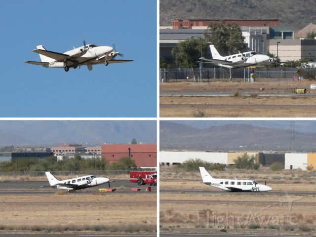 Piper Navajo (N494SC) - Sequence of photos showing wheels-up landing. Left gear would not extend. The pilot was the only person on board, and was unhurt.
