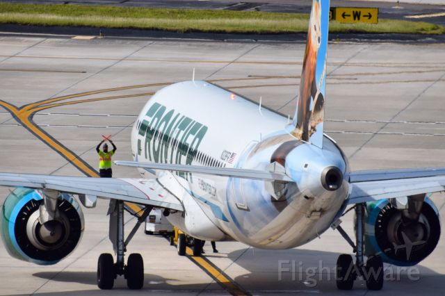 Airbus A320neo (N328FR) - Scout the Pine Marten (N328FR) getting ready to depart the ramp at Tampa before heading off to Denver as FFT291br /br /• Delivered to Frontier Airlines MAR 2018br /• Ferried XFW > YVR > TPA for delivery (03-15-2018)br /• Configured with 186 Economy seats