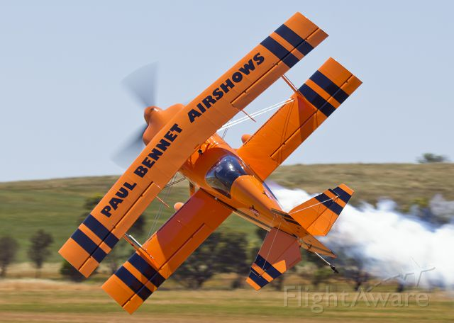 — — - Paul Bennet performs low level knife edge at Jamestown Airshow 2016