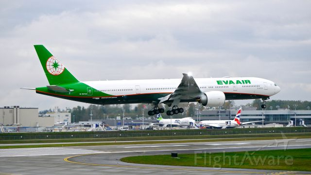BOEING 777-300 (B-16725) - BOE428 on short final to Rwy 16R to complete its C1 flight on 11/5/15. (ln 1349 / cn 44554).  This aircraft displays EVA Airs updated livery. I believe these are the first photos of the new livery posted on FA.