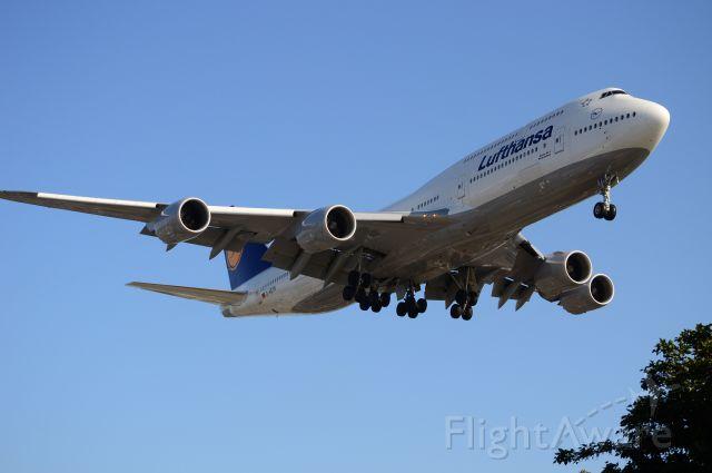BOEING 747-8 (D-ABYN) - Lufthansa 747-8i lands 24R @ LAX.  (#D-ABYN)