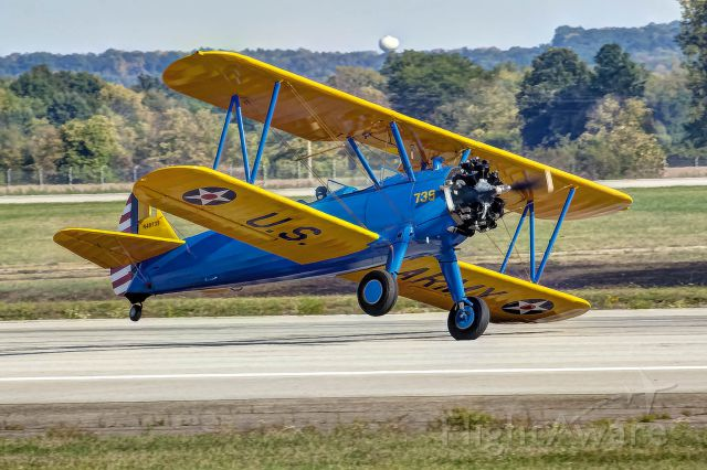 N49739 — - A PT-17 Stearman makes a perfect one-point landing at the Gathering of Mustangs and Legends airshow.