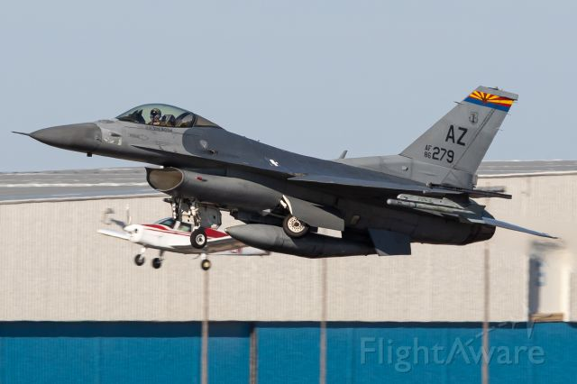 86-0279 — - Formation takeoff featuring a Cherokee and an F16... Who do you think won this race?