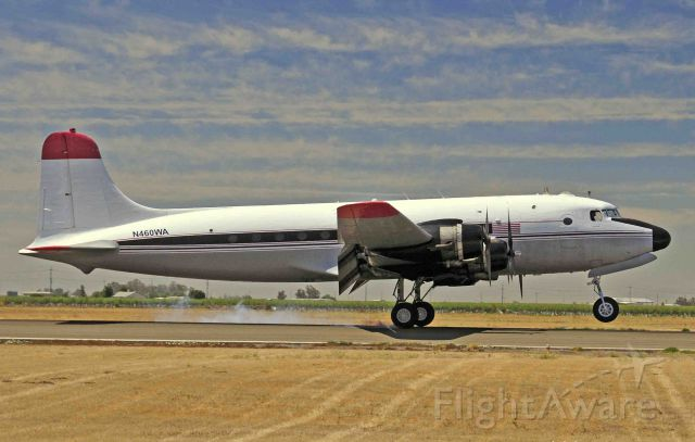 Douglas C-54 Skymaster (N460WA) - Douglas C-54 Skymaster with Sam and Ryan performing a full-stop at Merced Regional Airport (KMCE)