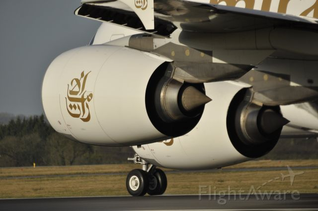 Airbus A380-800 (A6-EDI) - Close up of the power sauce of the A380 . Great spot Southside to get shots like this.