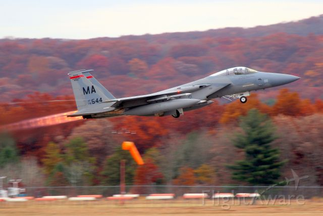 McDonnell Douglas F-15 Eagle (78-0544) - Massachusetts ANG. The 'SLAM' unit is on 24/7 Aerospace Control Alert and is fully armed and must be ready to scramble in a moment's notice to protect the Northeast from any airborne threat.