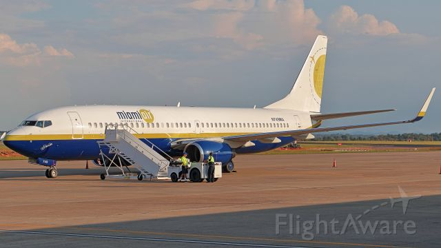 Boeing 737-800 (N749MA) - September 21, 2018, Nashville, TN -- I captured this Miami Air parked at the south cargo lot, and from the BNA Vultee Observation Area.  This was a Charter Flight that brought the Tampa Bay Lightning National Hockey League Team to play the Nashville Predators.