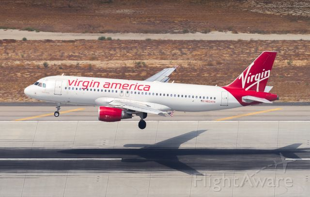 Airbus A320 (N634VA) - VRD409 arrives from JFK, about to touch down on runway 25L at LAX