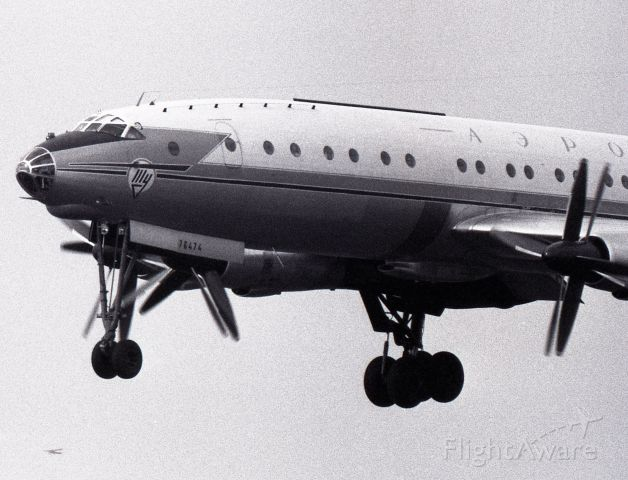 CCCP76474 — - August 1968 - Tupolev TU-114 on final runway 24L at Dorval (CYUL) on a direct flight from UUEE, Sheremetyevo, Moscow. Below is a C-150 airborne from rwy 24 at the old CYCV, Cartierville airport, today a residential area.
